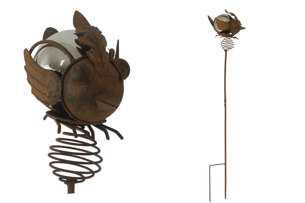 Ptáček, zápich, kovová dekorace