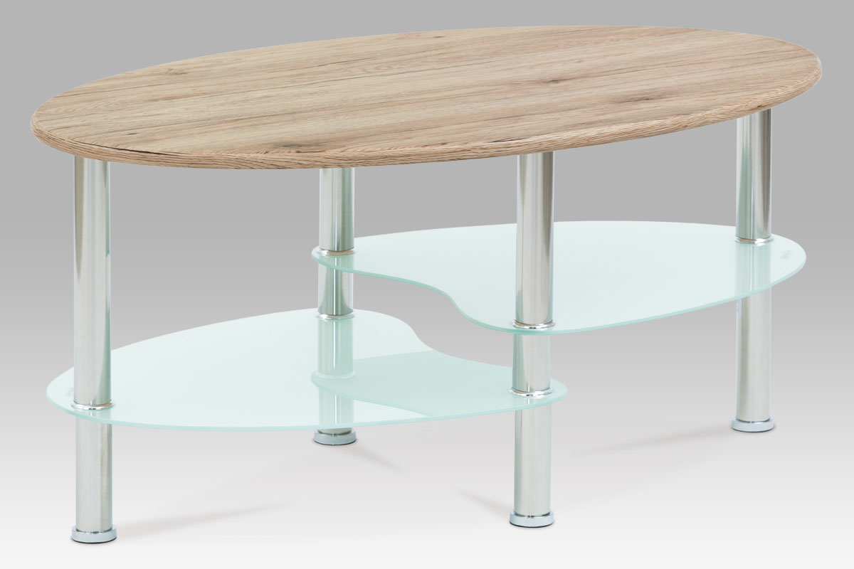 konferenčný stolík 90x55x42, MDF San Remo, 5mm biele sklo, leštený nerez-CT-1180 SRE