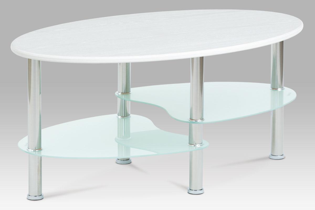 konferenčný stolík 90x55x42, MDF vysoký lesk biely, 5mm sklo, nerez-CT-1180 WT