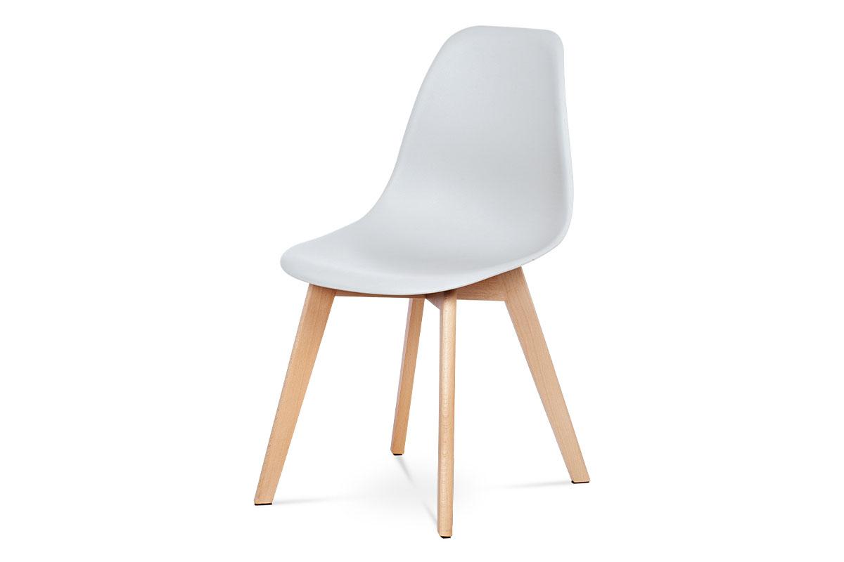 jedálenská stolička, sivý plast, masiv buk
