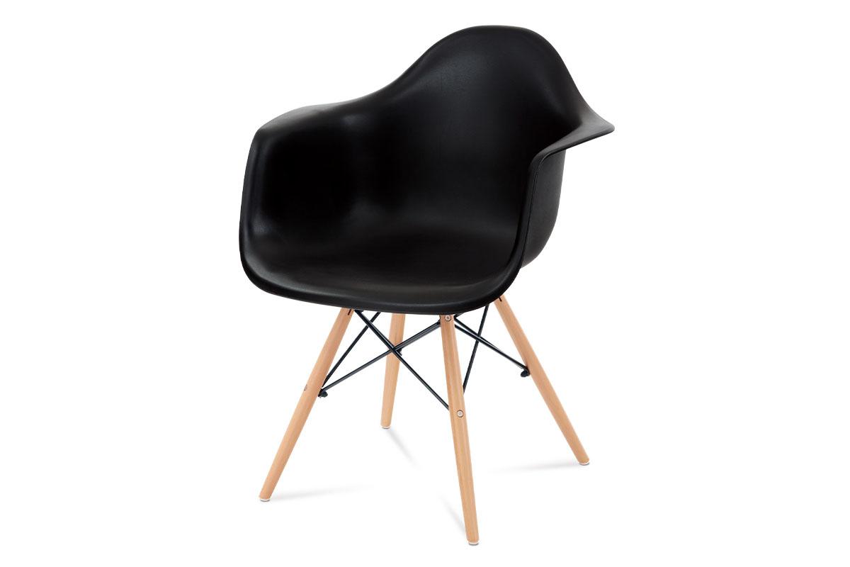 jedálenská stolička plast čierny/masív buk