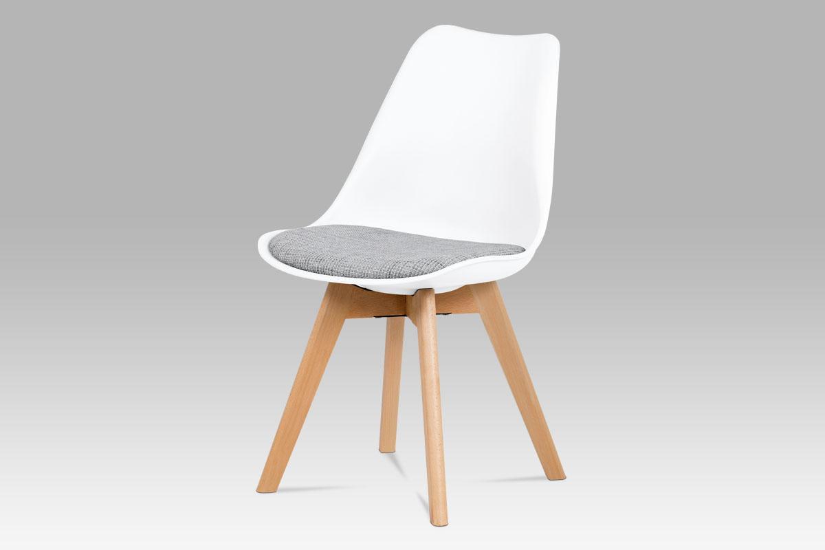 jedálenská stolička, plast biely, látka sivá, natural