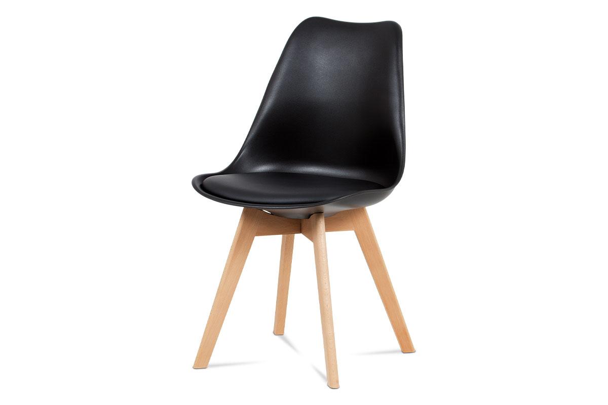 jedálenská stolička, plast čierny / koženka čierna / masív buk-CT-752 BK