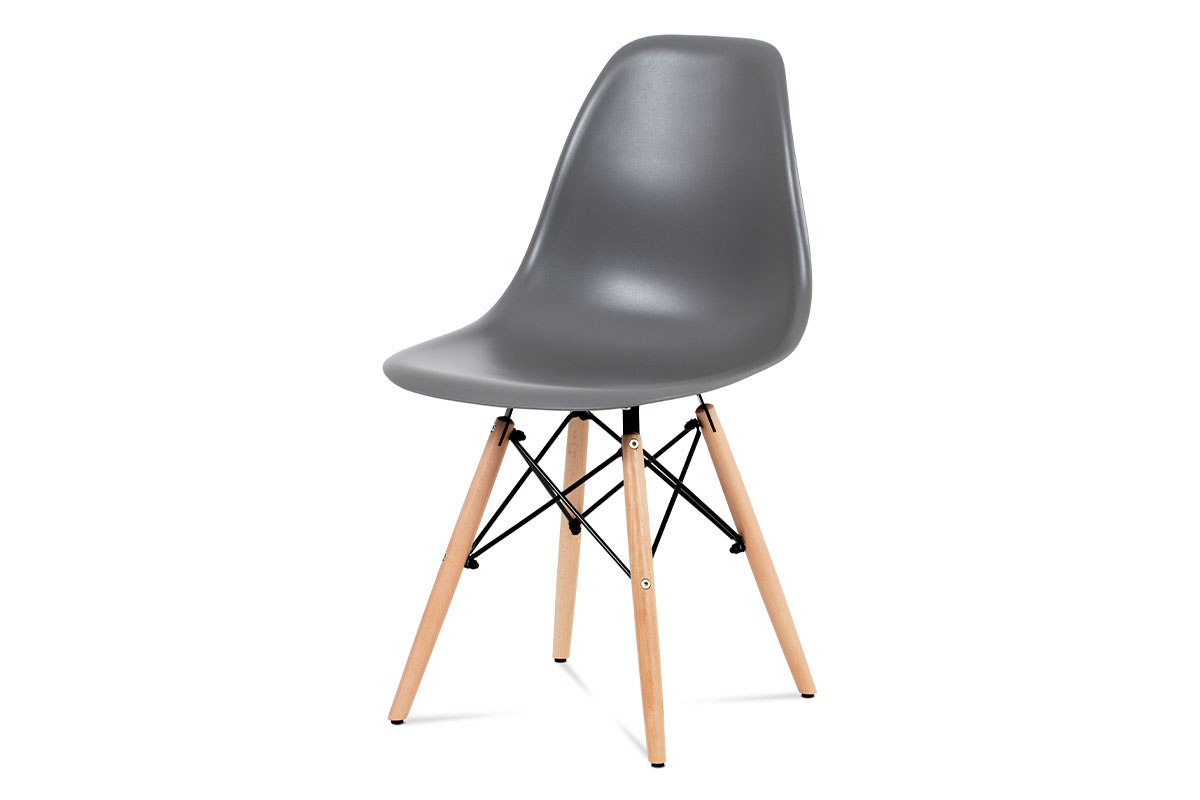 jedálenská stolička, plast sivý / masív buk / kov čierny-CT-758 GREY