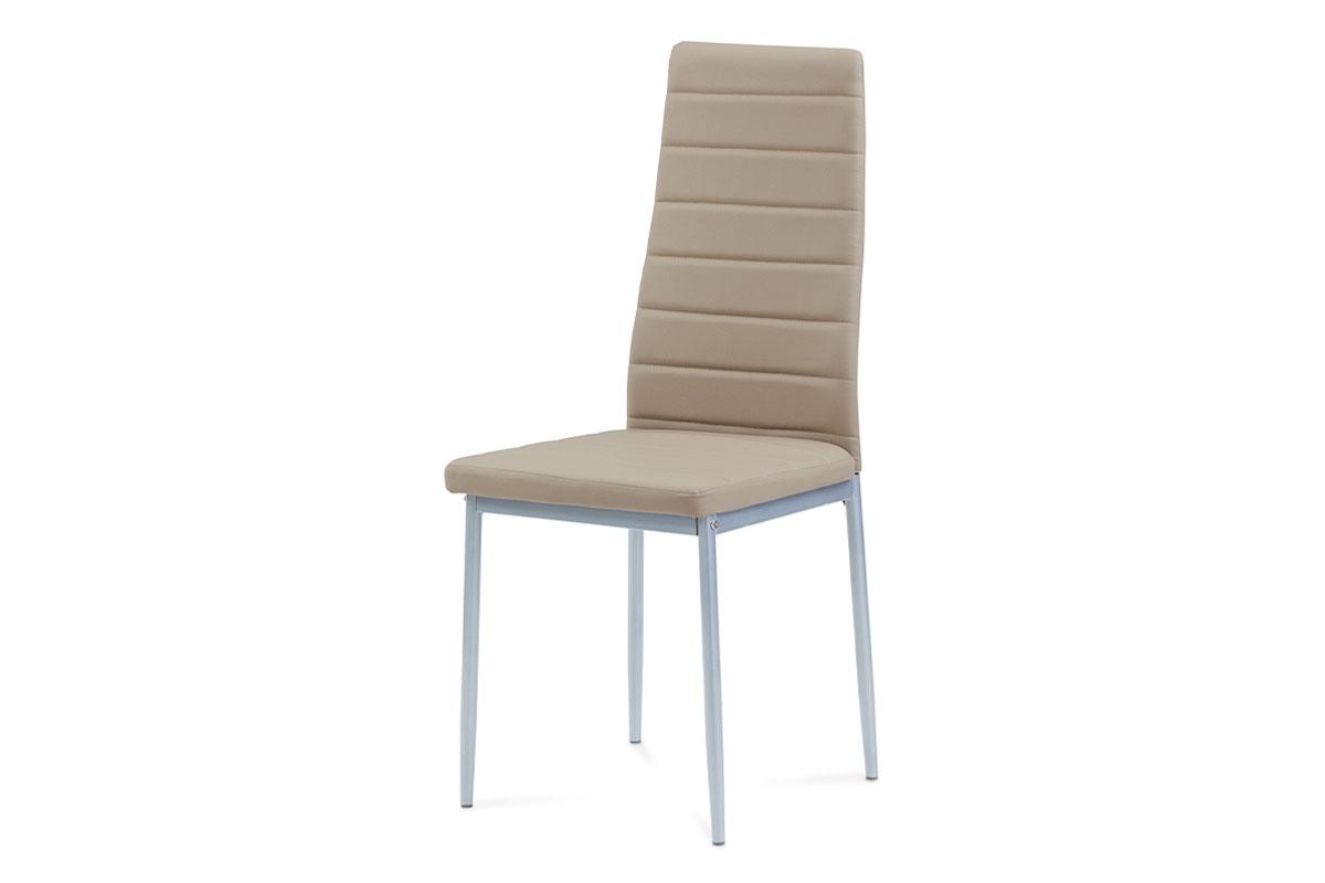 jedálenská stolička, koženka kapučíno, sivý lak-DCL-117 CAP