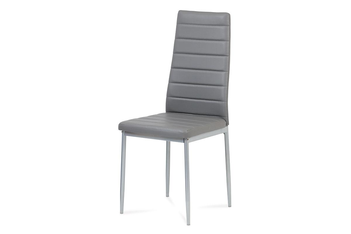 jedálenská stolička, koženka sivá, sivý lak-DCL-117 GREY