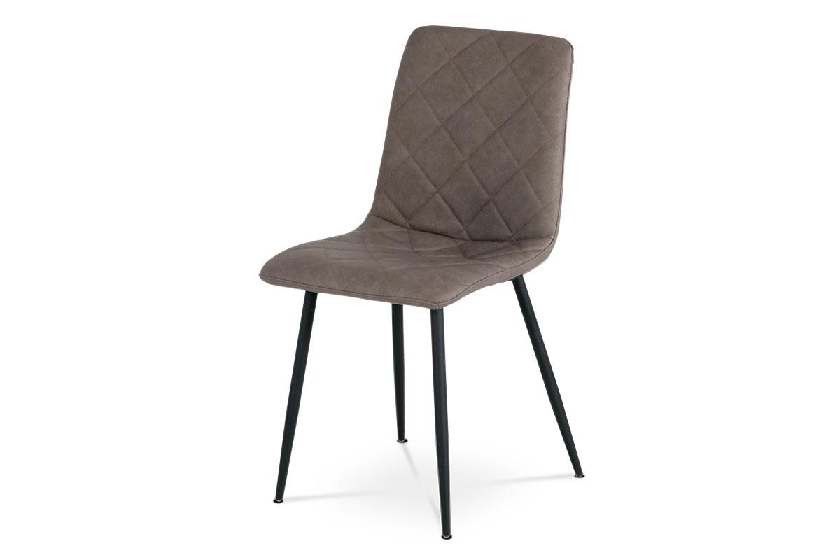 Jedálenská stolička, poťah sivohnedá ekokoža, kovová štvornohá podnož, čierny lak