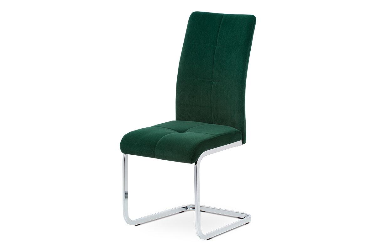 jedálenská stolička zelená zamatová látka, kovová chromovaná podnož