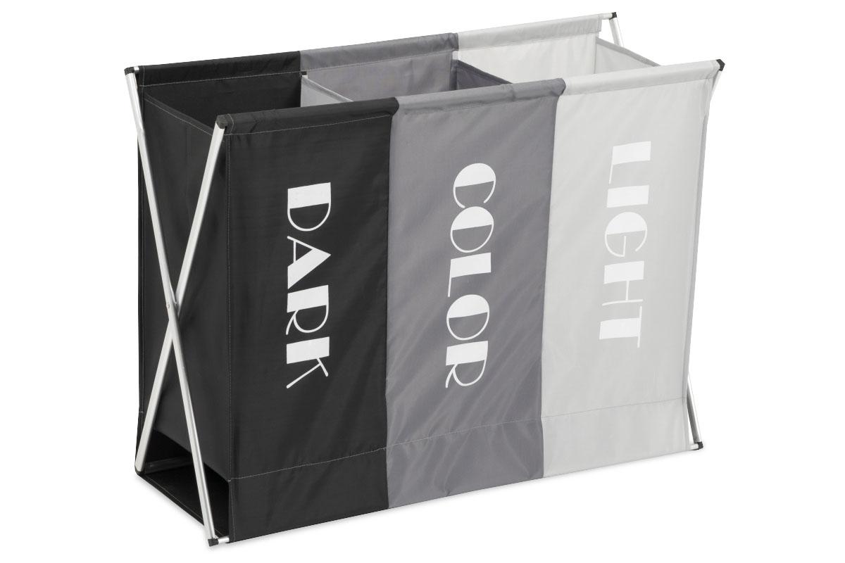 Kôš na prádlo látkový, 3-komorový, farba čierna a šedá