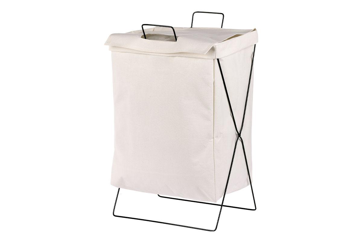 Koš na prádlo plátěný, barva bílá