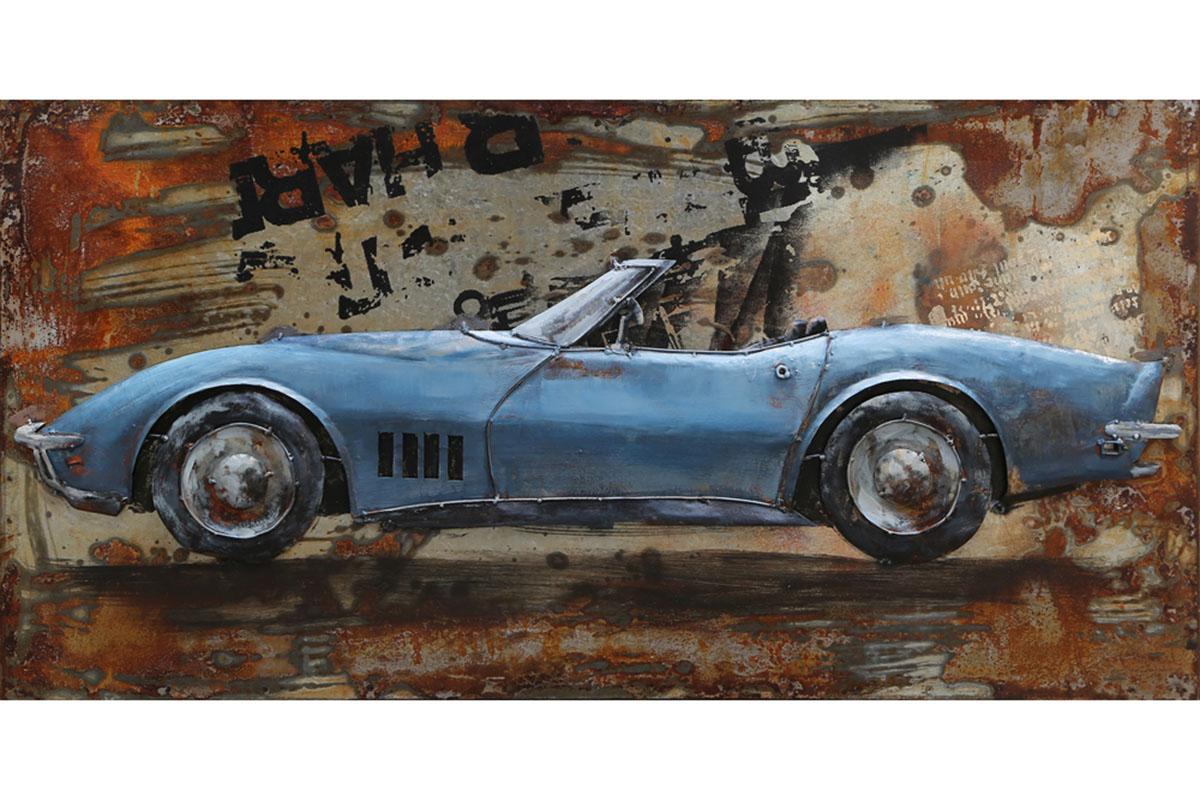 KOVOVÝ OBRAZ, RUČNE MAĽOVANÝ - modré auto