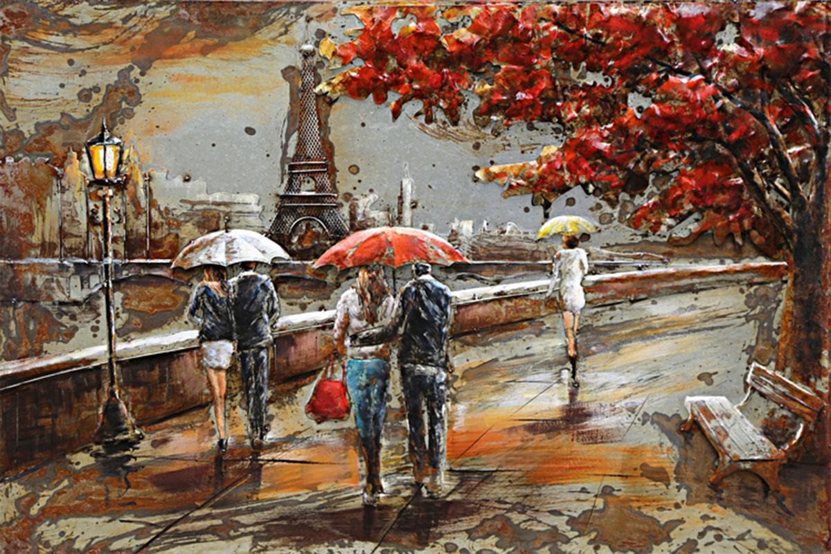 Obraz kovový, ručně malovaný  - Paříž