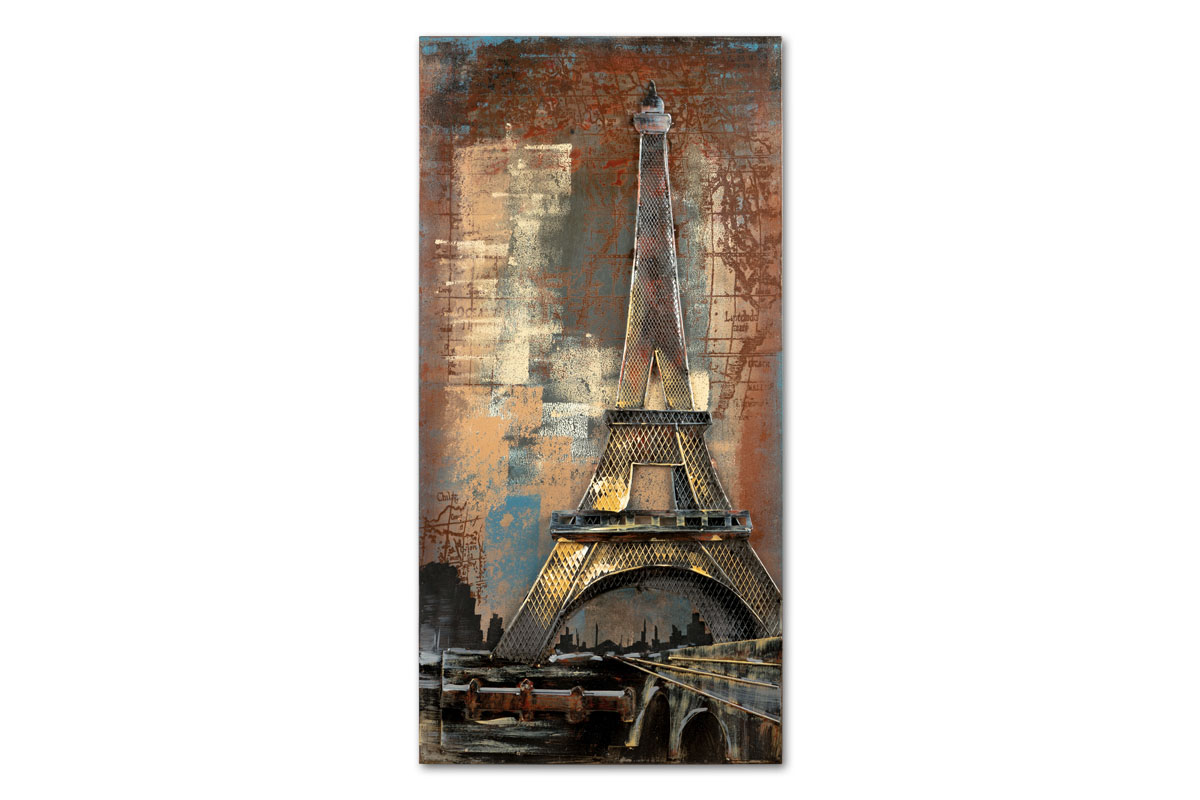 Obraz kovový, ručně malovaný  - Eiffelova věž