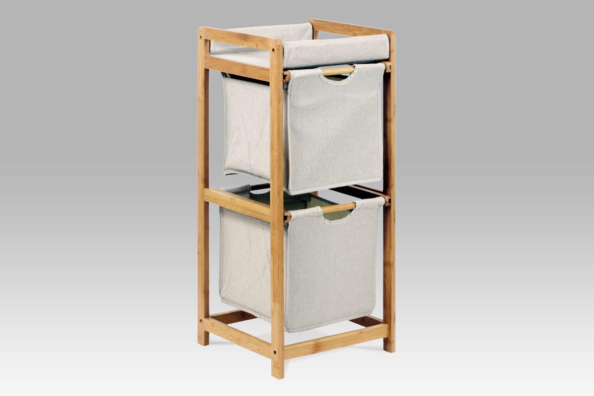 komoda bambus, 2-zásuvková, látka sivá-DR-012-2