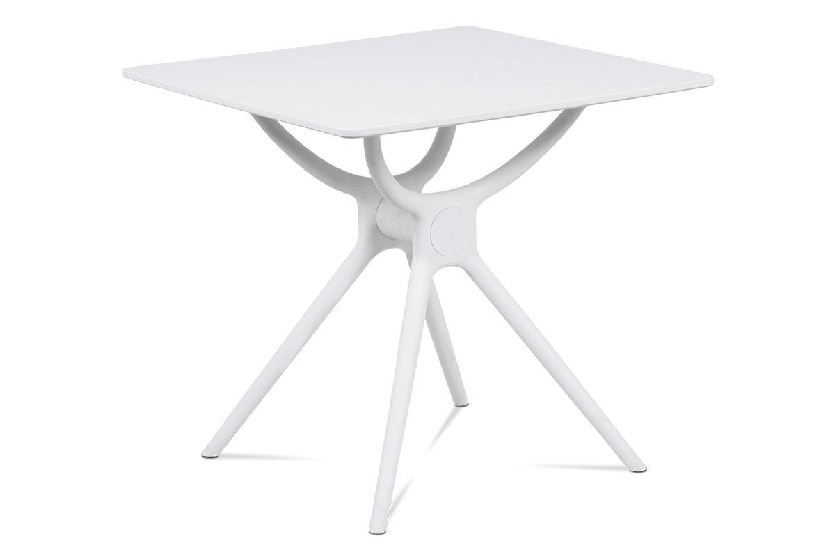 jedálenský stôl 80x80, biela MDF, plast biely-DT-751 WT