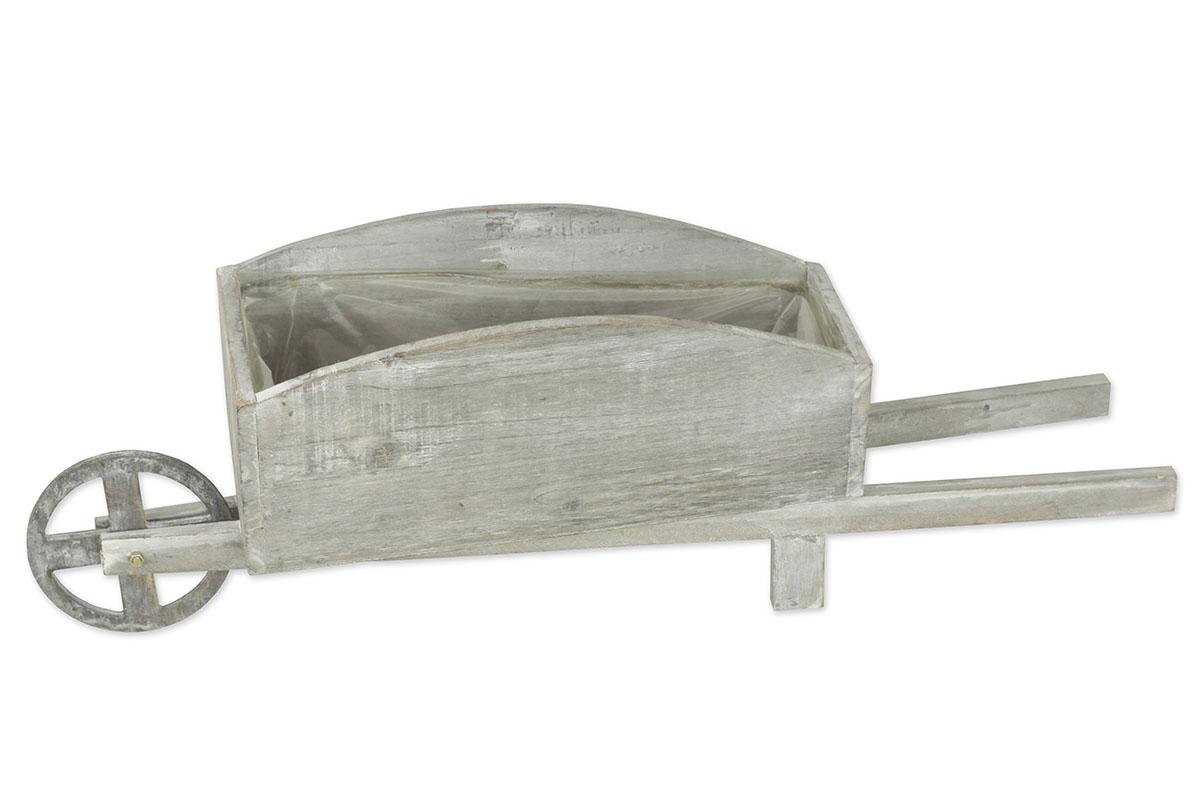 Drevený truhlík s igelitovou vložkou, tvar vozíka