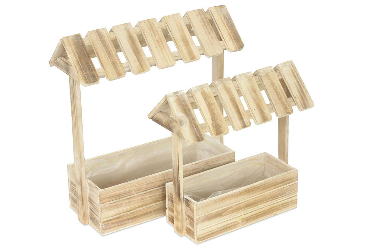 Truhlík dřevěný se stříškou a s igel vložkou,  sada 2 kusů