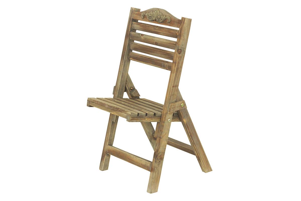 Drevený stojan na kvety, tvar stoličky
