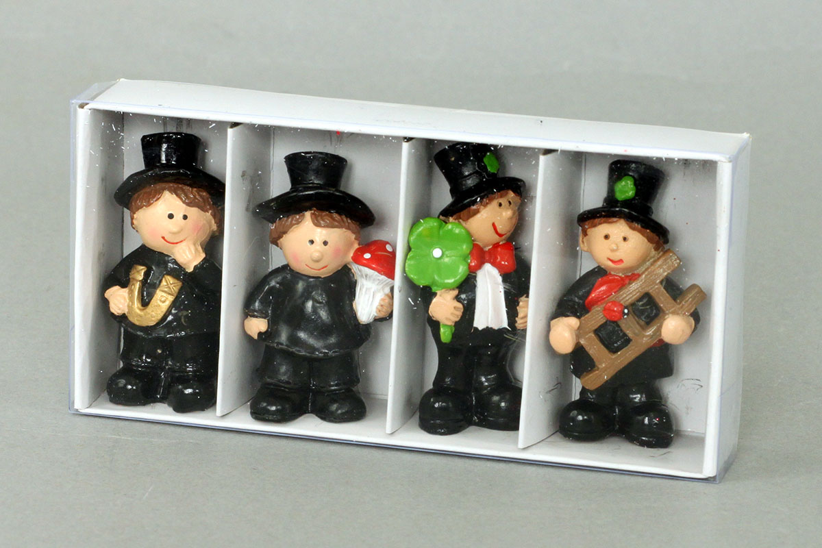 Kominárik, 4 kusy v plastovej krabičke, cena za 1 krabičku,  dekorácia z polystounu