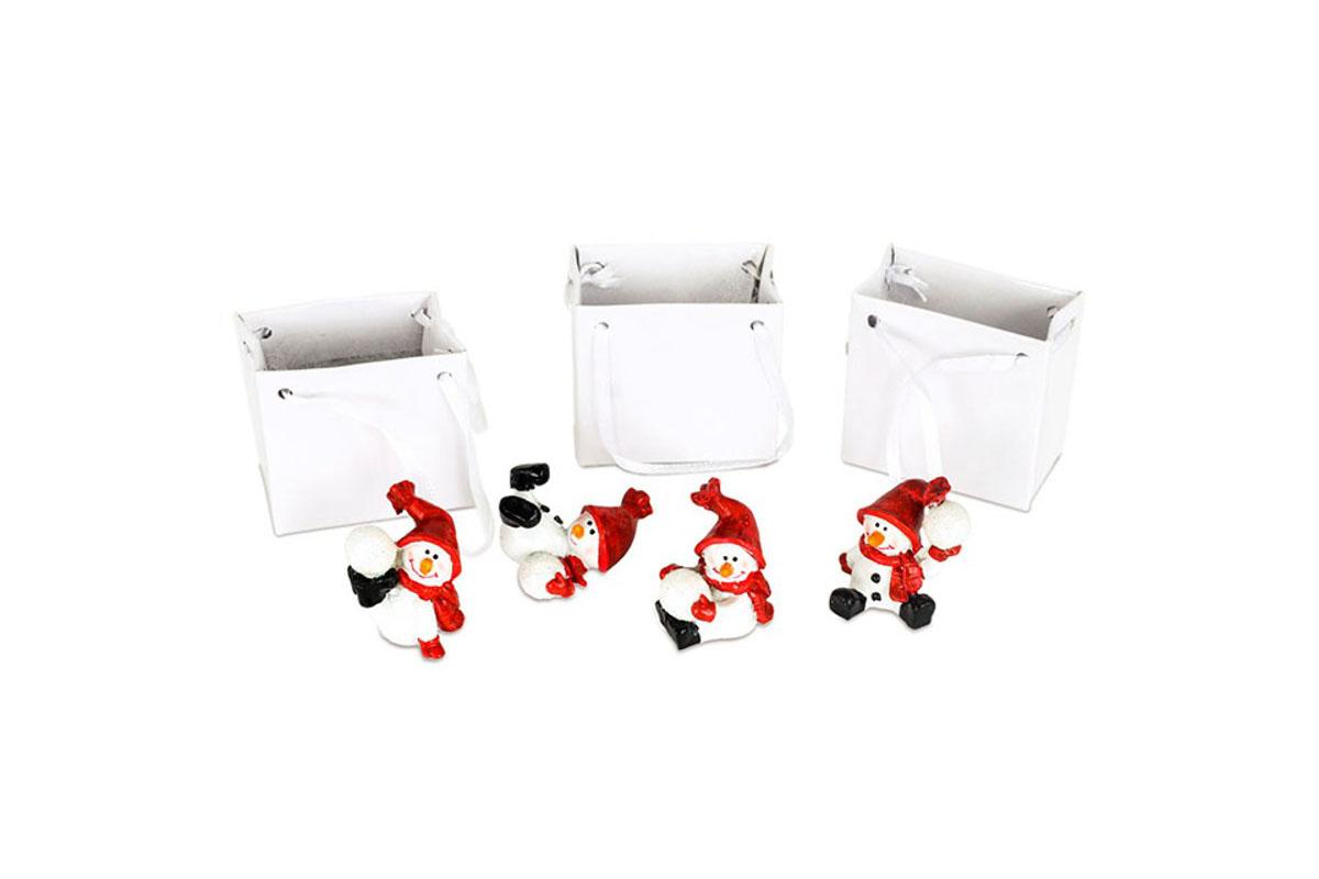Snehuliak, dekorácia z polyresinu v papierovej krabičke, box 12 kusov, cena za 1 kus