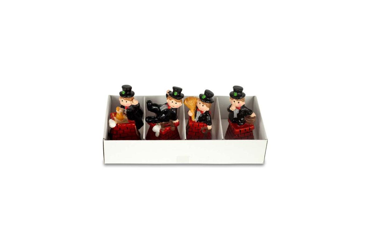 Kominíček, 4 kusy v krabičce, dekorace z polyresinu, cena 1 krabičku