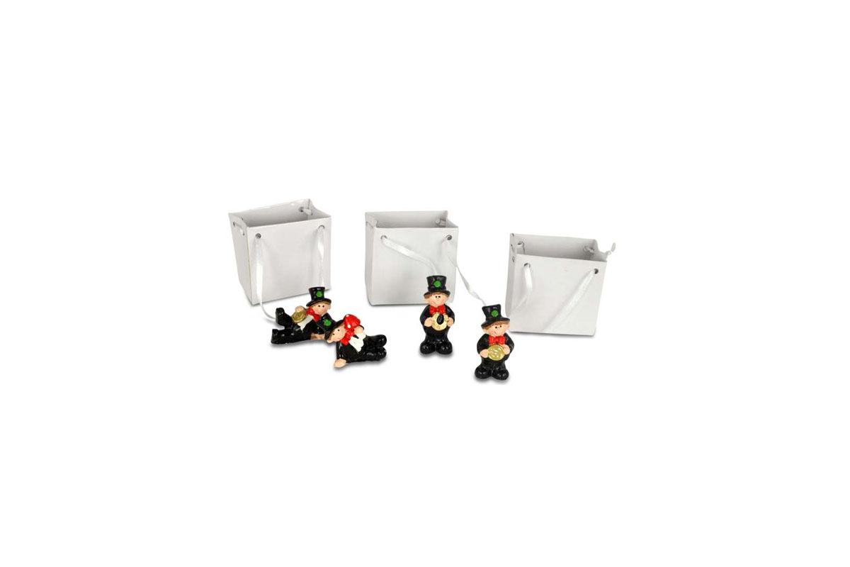 Kominíček, dekorace z polyresinu v papírové taštičce, box 12 kus, cena za 1 kus