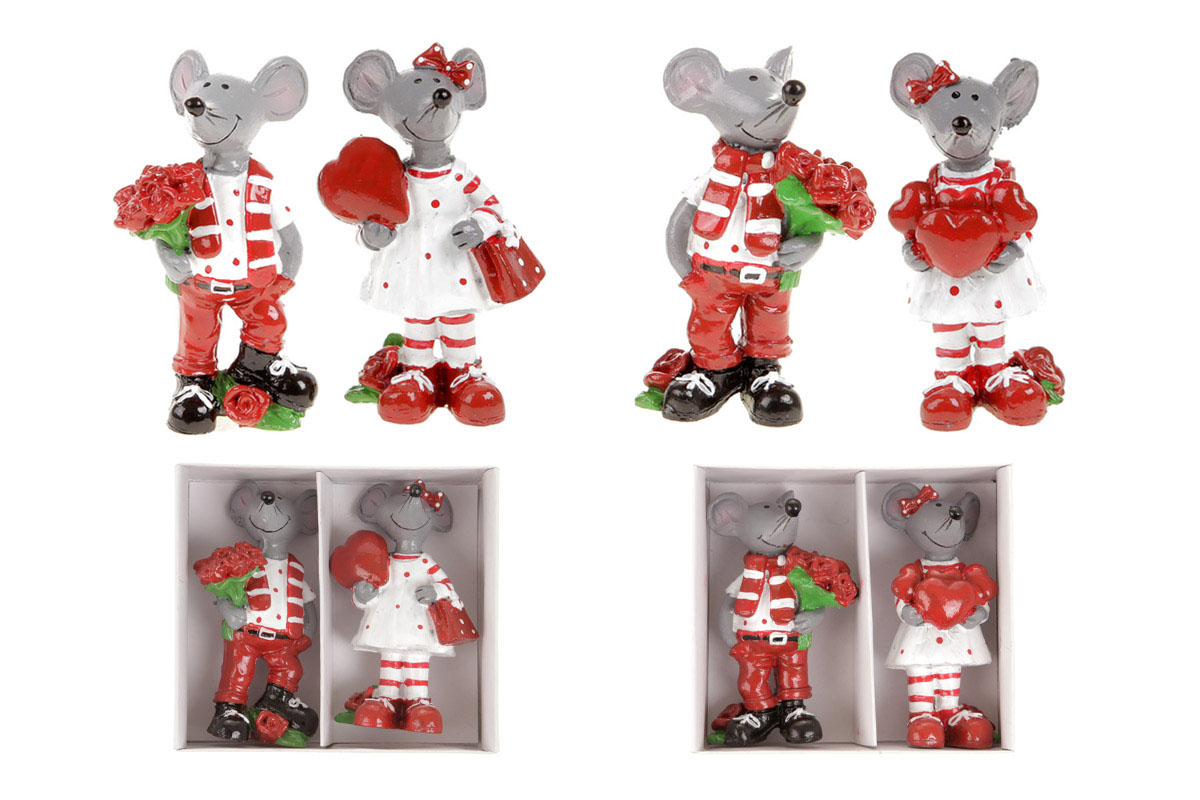 Myšák a myška z polyresinu. Cena za krabičku.