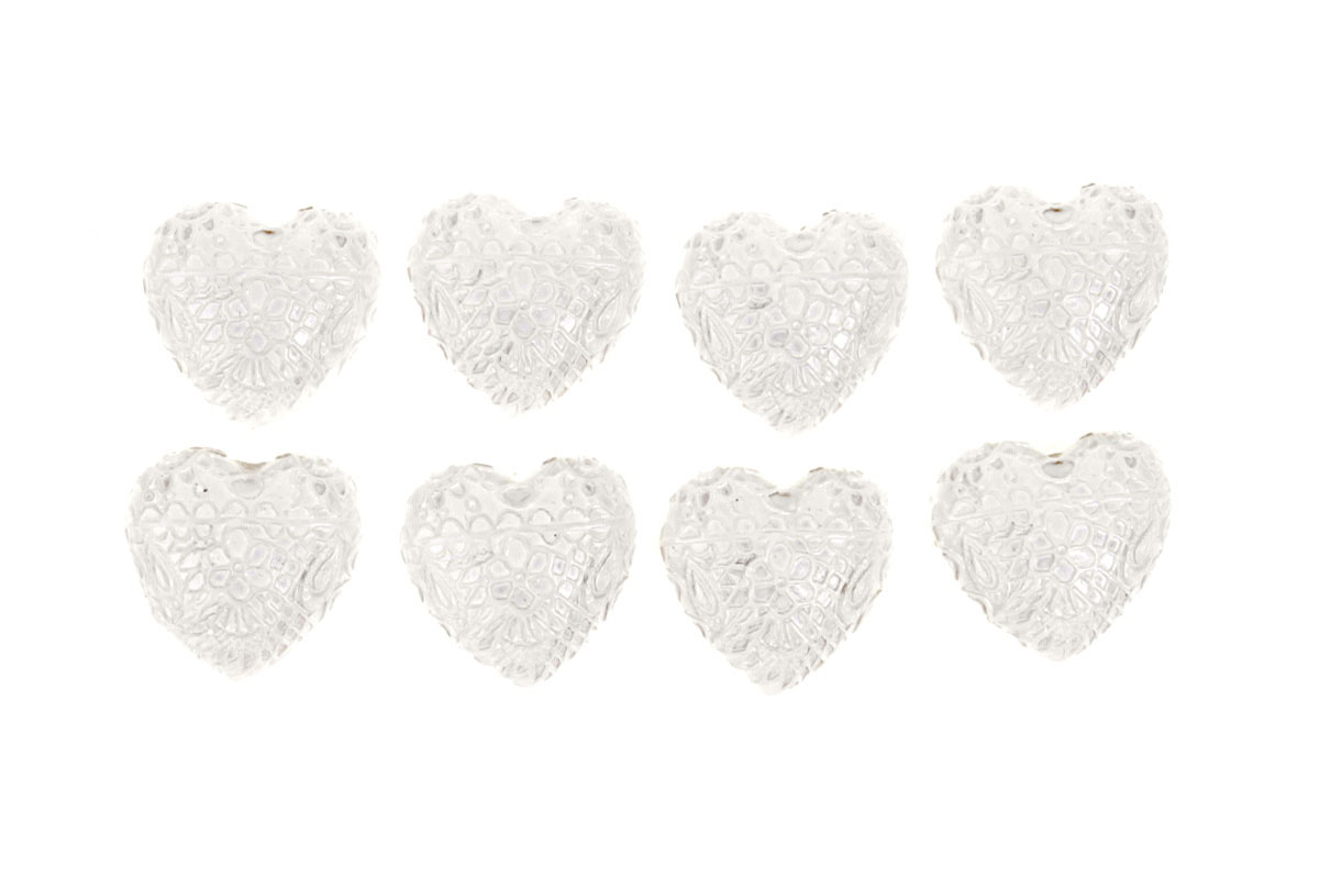 Srdce zdobené z polyresinu. Na nalepení (8ks).
