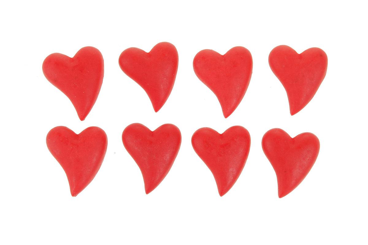 Srdce červené z polyresinu. Na nalepení (8ks).