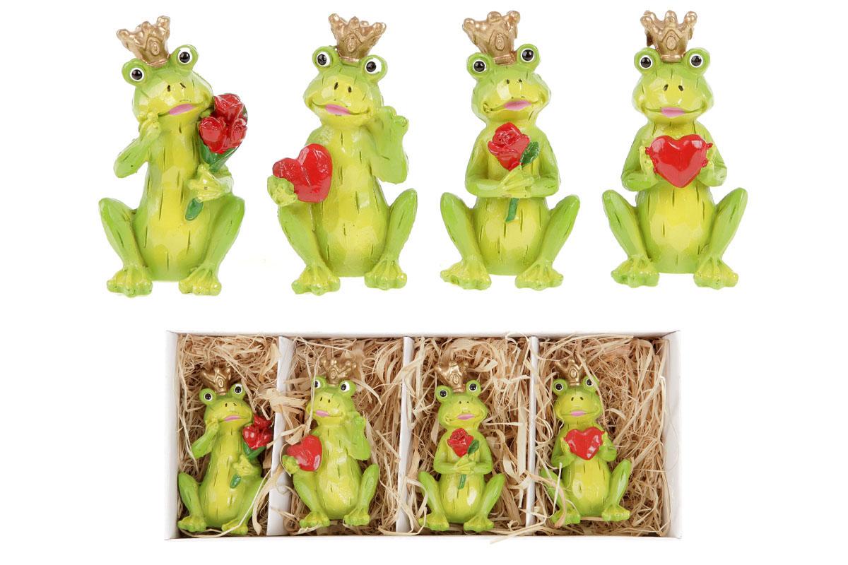 Žába s korunkou, držící srdce či řůži. Cena za 4ks/krabičku.
