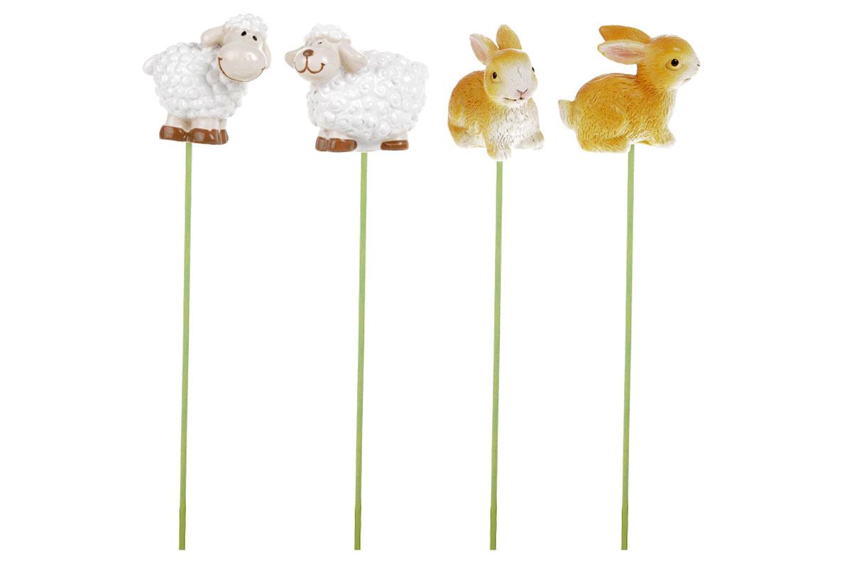 Zajíci a ovečky. Dekorace z polyresinu. Cena za 1 krabičku 24 kusů