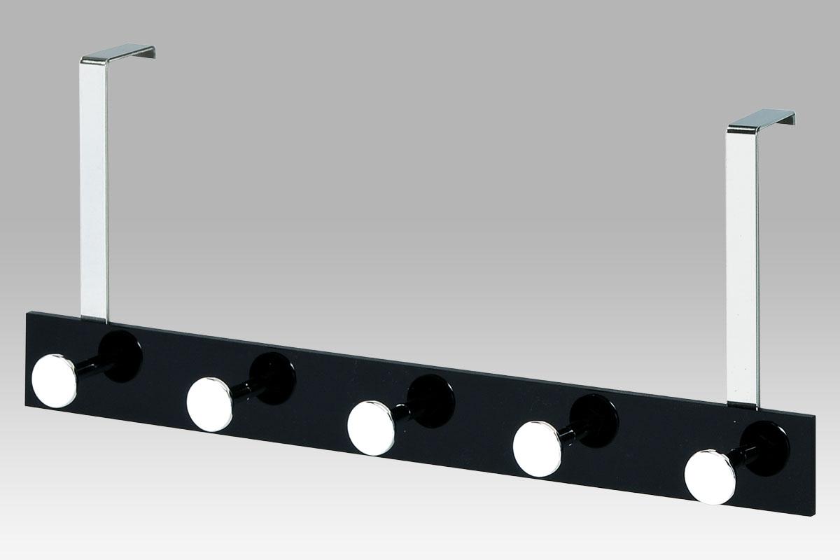 Vešiak závesný na dvere, 5 háčkov, chróm/čierna-GC2480-5 BK