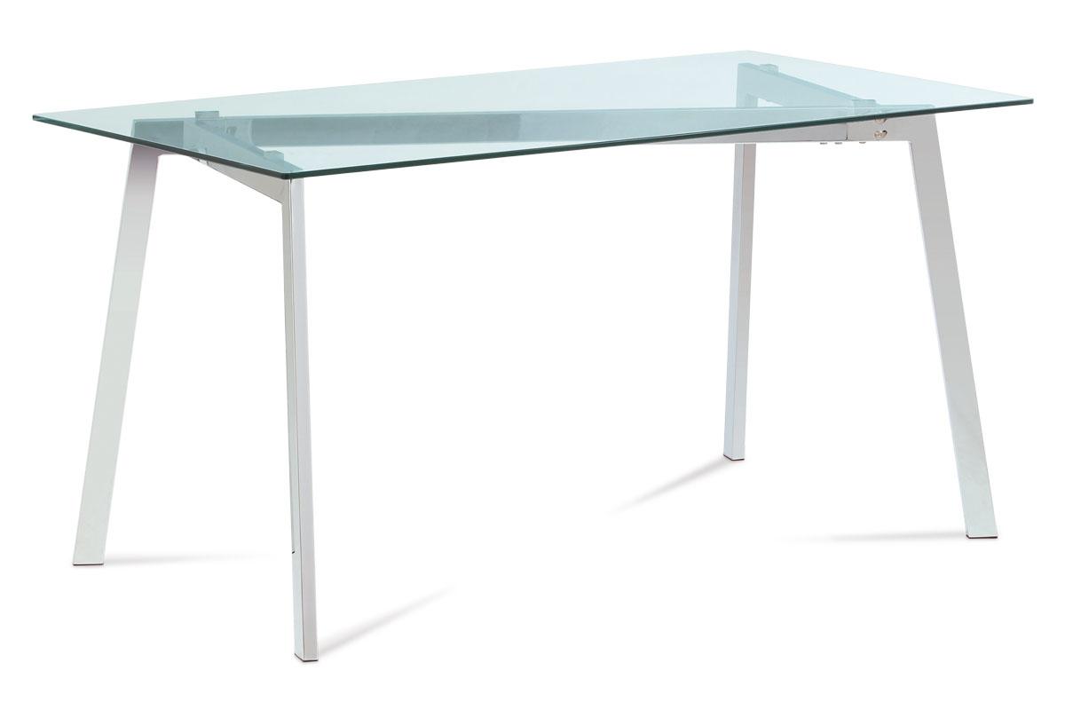 2a043ede77c5f jedálenský stôl 150x80x75cm, sklo číre, chróm | Nábytok Secret