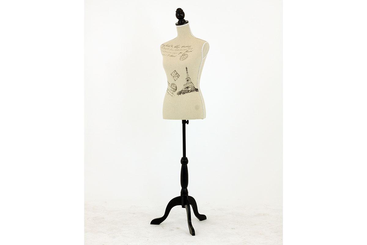 Stojan na oblečenie, drevený, tvar panna