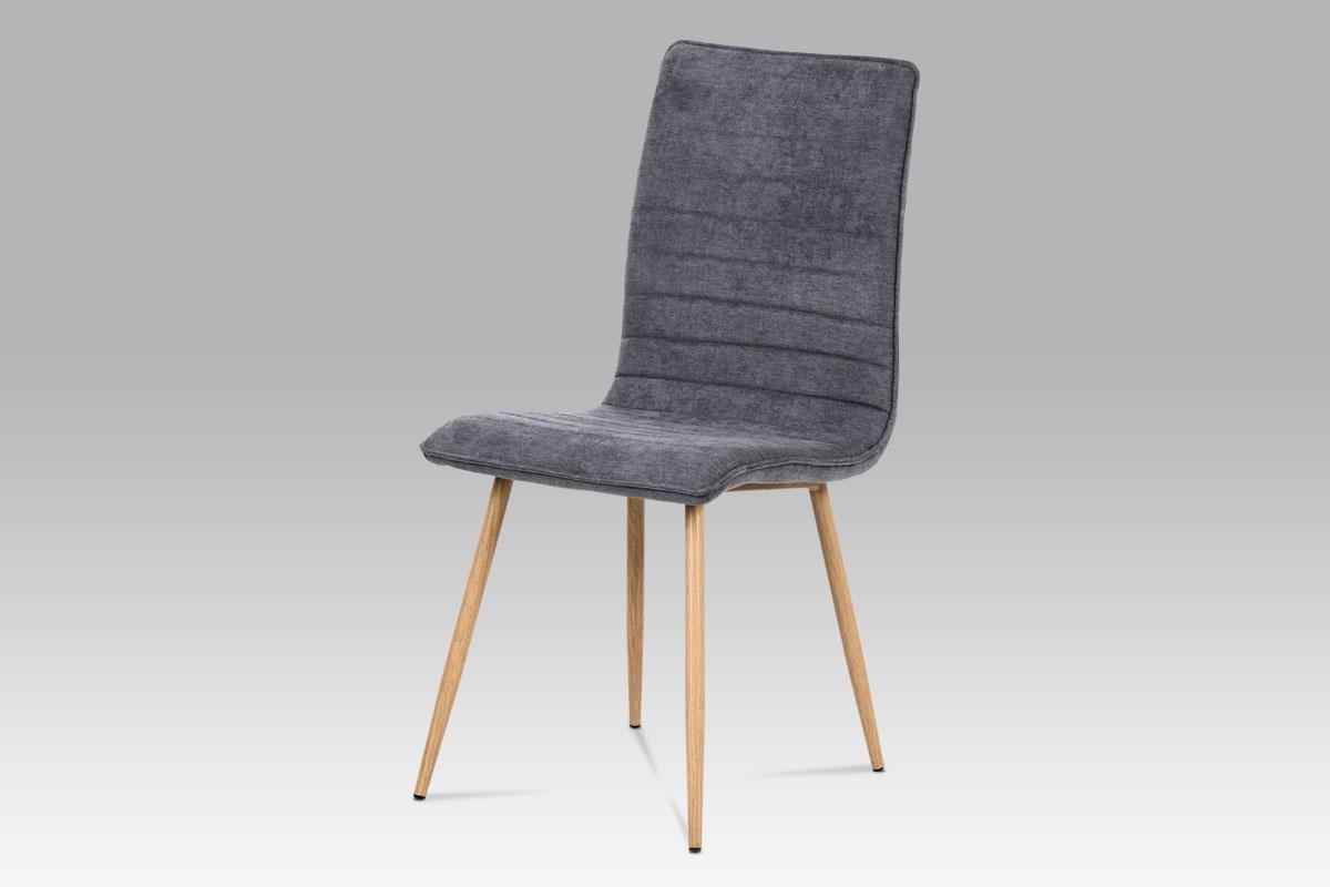 Jídelní židle, šedá látka, kov 3D lak dub-HC-368 GREY2
