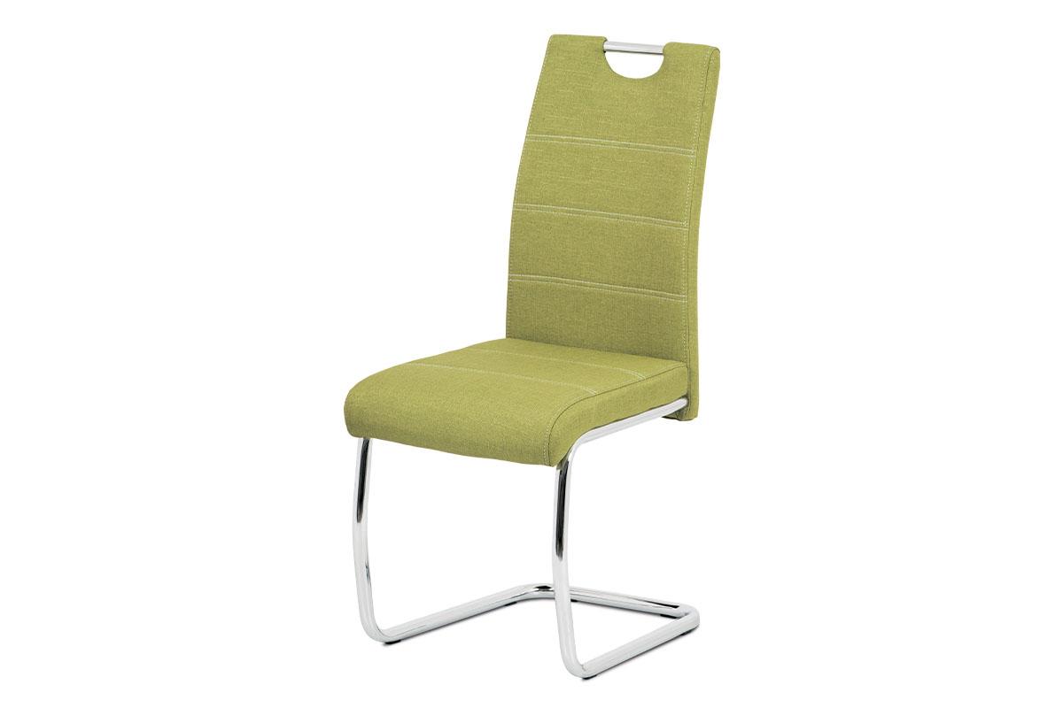 jedálenská stolička látka, farba zelená/nohy kov chróm-HC-482 GRN2