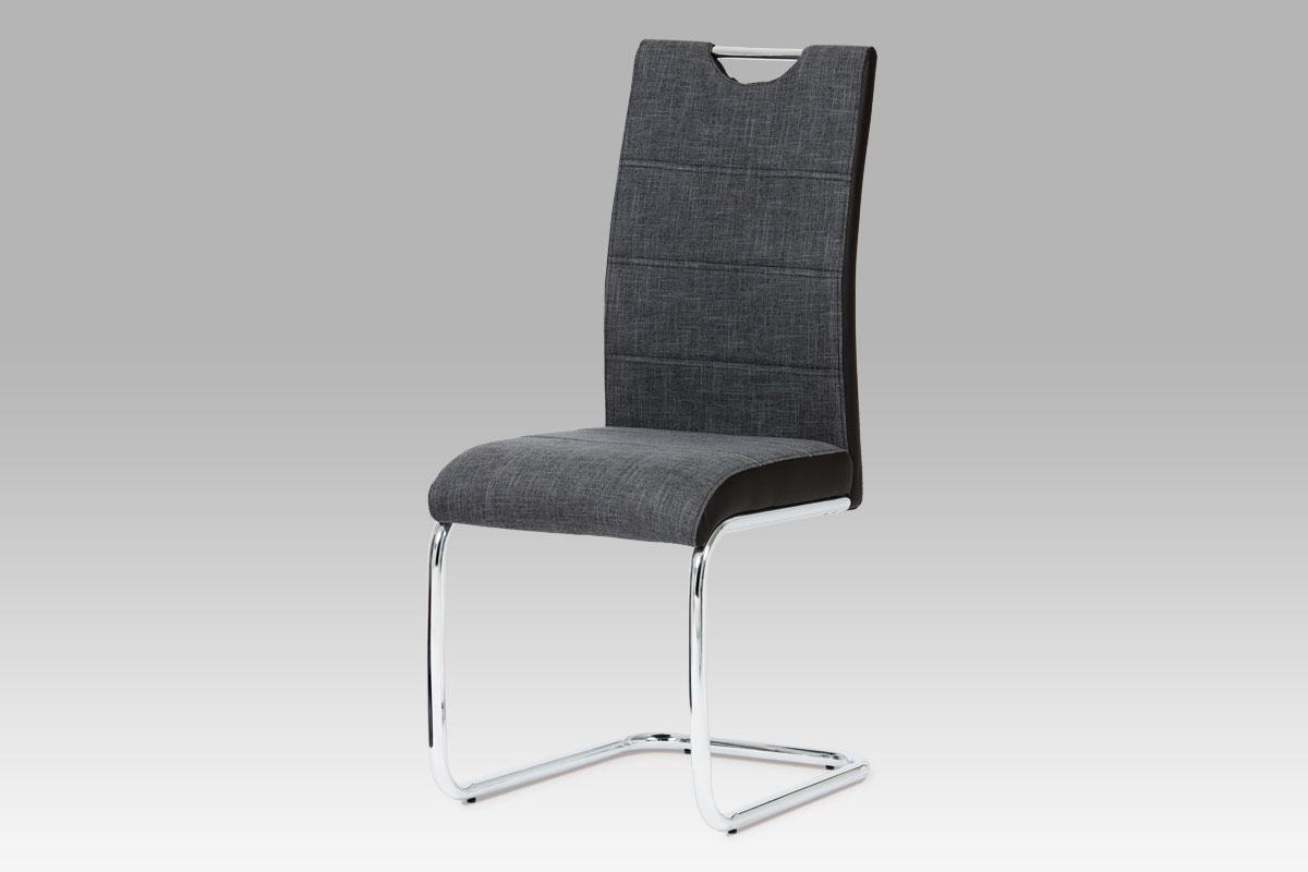 jedálenská stolička, látka sivá, boky koženka čierna, chróm-HC-582 BK2