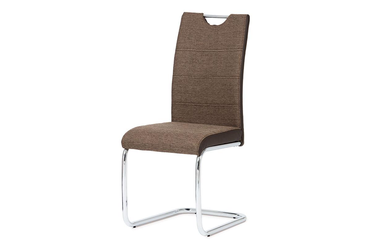 jedálenská stolička, látka hnedá, boky koženka hnedá, chróm-HC-582 COF2