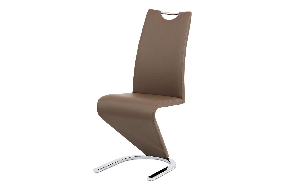 jedálenská stolička, chróm, koženka kapučíno