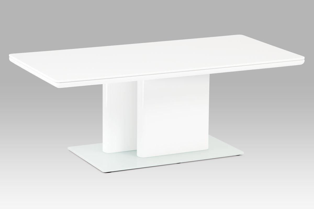 konferenční stolík, vysoký lesk biely / tvrdené sklo-HCT-655 WT