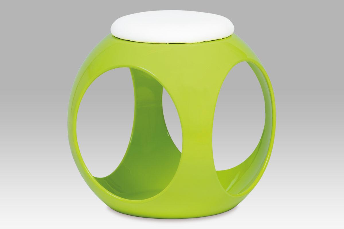 Taburet, plast zelený / sedák bílá PU