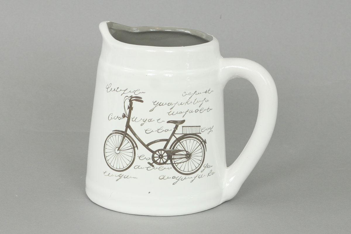 Keramická konvička, motív retro bicykel