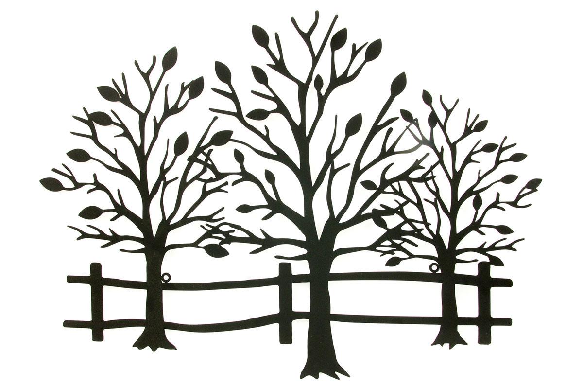 Nástěnná kovová dekorace - stromy, barva černá matná