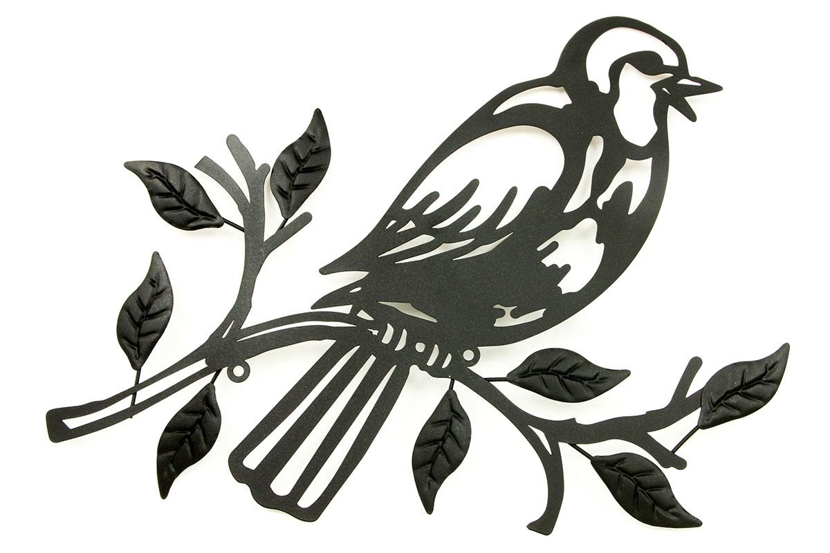 Nástěnná kovová dekorace, barva černá matná