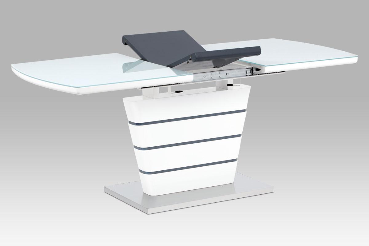 jedálenský stôl 140+40x80, biela MDF, brúsený nerez