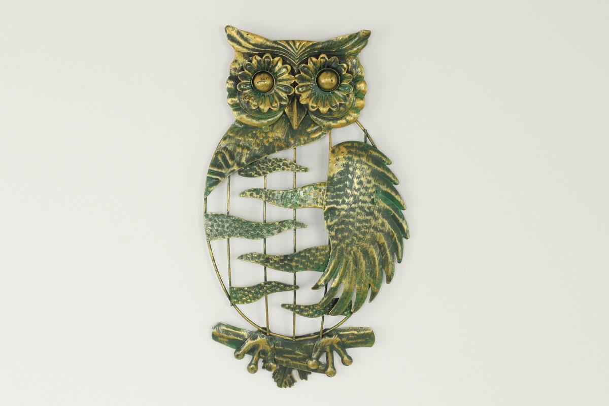 Nástenná kovová dekorácia - sova