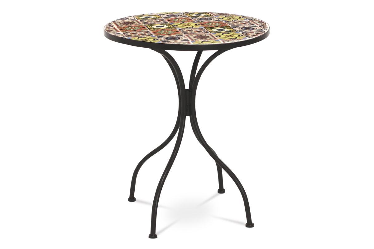 kovový stôl s mozajkovou doskou