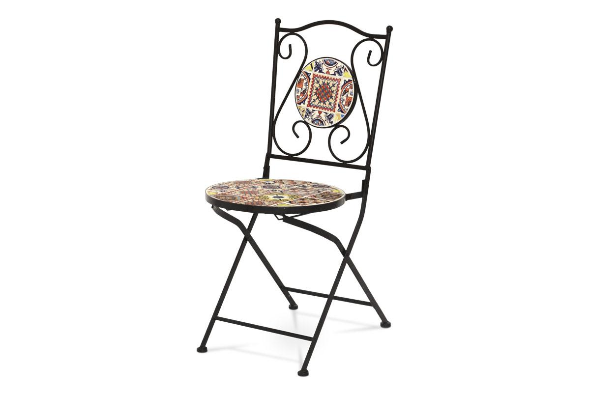 kovová stolička s mozajkou