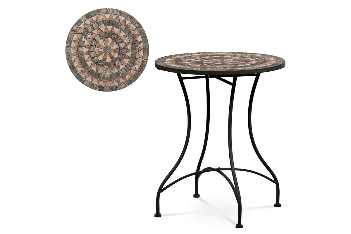 Zahradní stůl, deska z keramické mozaiky, kov, černý lak (designově k židli JF2226)