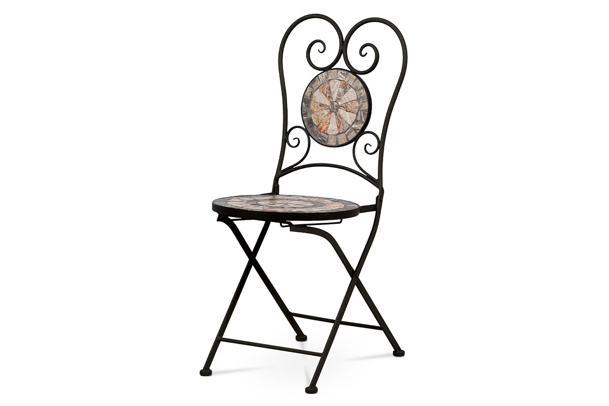 Zahradní židle, keramická mozaika, kov, černý lak (designově ke stolu JF2225)